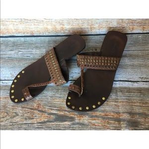 Matisse Brown Leather Thong Sandals Made In Brazil
